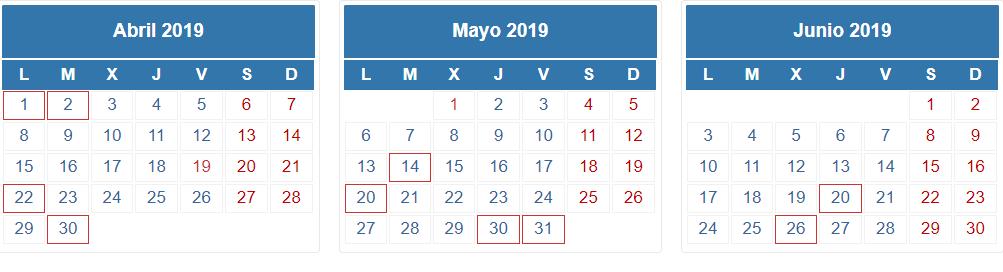 Caledario AEAT 1T 2019